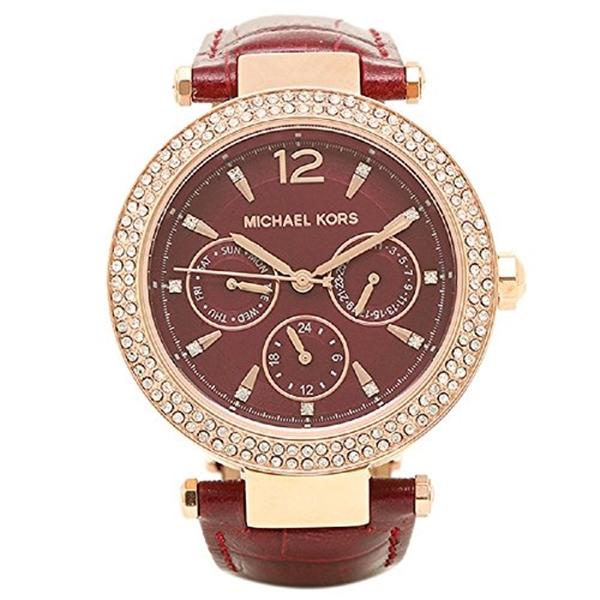 マイケルコース Michael Kors レディース 腕時計 時計 MICHAEL KORS Parker Burgundy Dial Ladies Multifunction Watch