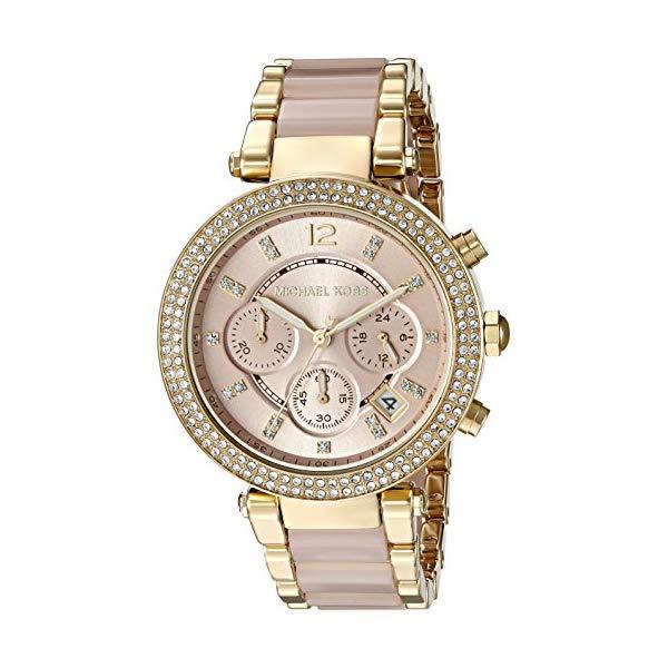 マイケルコース 時計 ウォッチ 腕時計 レディース 女性用 Michael Kors Womens Parker Blush Acetate and Goldtone Chronograph Watch