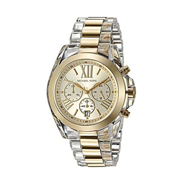 "マイケルコース 時計 ウォッチ 腕時計 レディース 女性用 Michael Kors Women""s Bradshaw Clear Acetate and Goldtone Chronograph Watch"