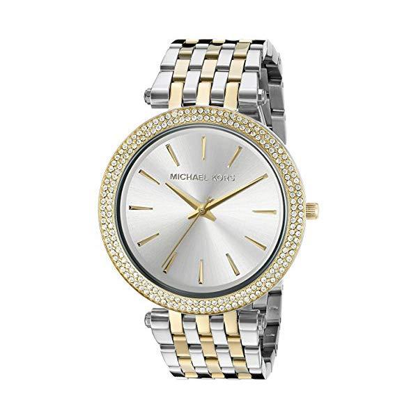 マイケルコース 時計 ウォッチ 腕時計 Michael Kors Darci Mid-Size Goldtone and Silvertone Stainless Steel Three-Hand Glitz Watch