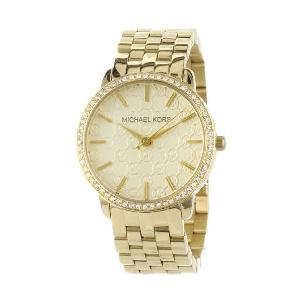 マイケルコース 時計 ウォッチ 腕時計 レディース 女性用 MK3120 Michael Kors Women's MK3120 Gold 5-Link Round Argyle MK Glitz Watch