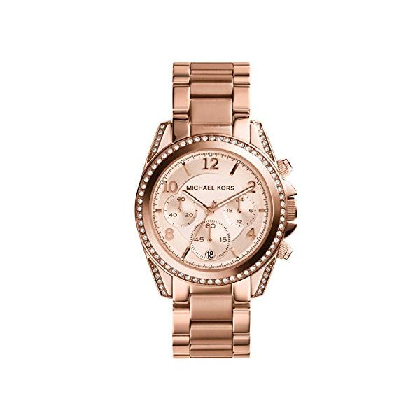 マイケルコース 時計 ウォッチ 腕時計 Michael Kors Rose Goldtone Blair Chronograph Watch with Clear Stones on Top Ring and Lugs