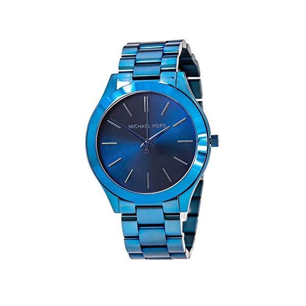 マイケルコース 時計 ウォッチ 腕時計 レディース 女性用 Michael Kors Women's Slim Runway Navy IP Three-Hand Watch