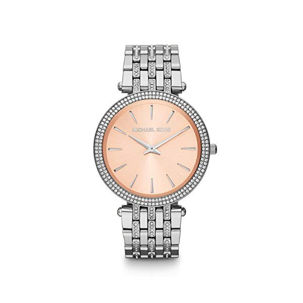 マイケルコース 時計 ウォッチ 腕時計 Michael Kors Silver-Tone Glitz Rose Dial Darci Watch