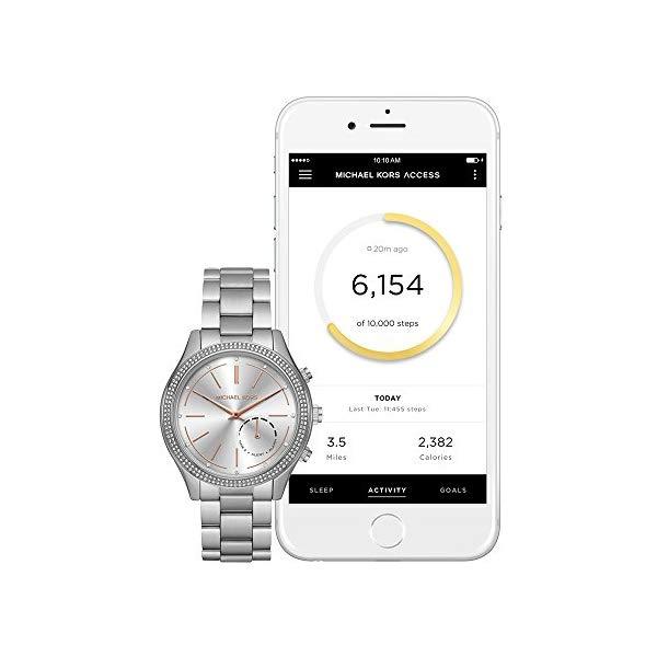 マイケルコース 時計 ウォッチ 腕時計 レディース 女性用 Michael Kors Women's 42mm Access Slim Runway Silvertone Pav= Hybrid Smart Watch