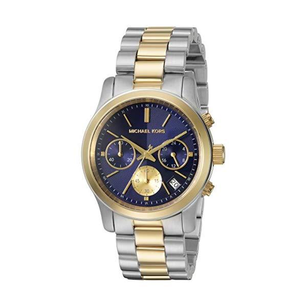 マイケルコース 時計 ウォッチ 腕時計 レディース 女性用 Michael Kors Women's Runway Watch, Silver/Gold/Navy, One Size