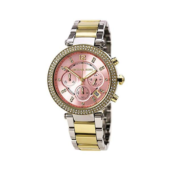 マイケルコース 時計 ウォッチ 腕時計 MK6140 Michael Kors Parker Pink Dial Two Tone SS Quartz Chrono Ladies Watch MK6140