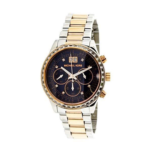 マイケルコース 時計 ウォッチ 腕時計 レディース 女性用 Michael Kors Women's Brinkley Rose-Tone/Navy Blue Stainless Steel Watch