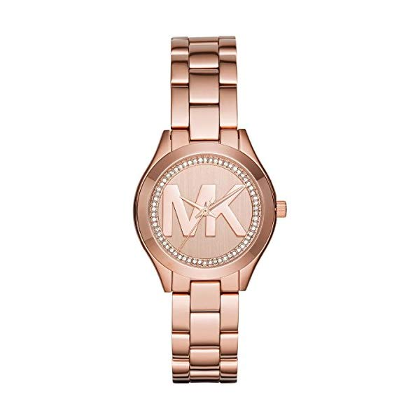 マイケルコース 時計 ウォッチ 腕時計 Michael Kors Mini Slim Runway Rose Goldtone Three Hand Watch
