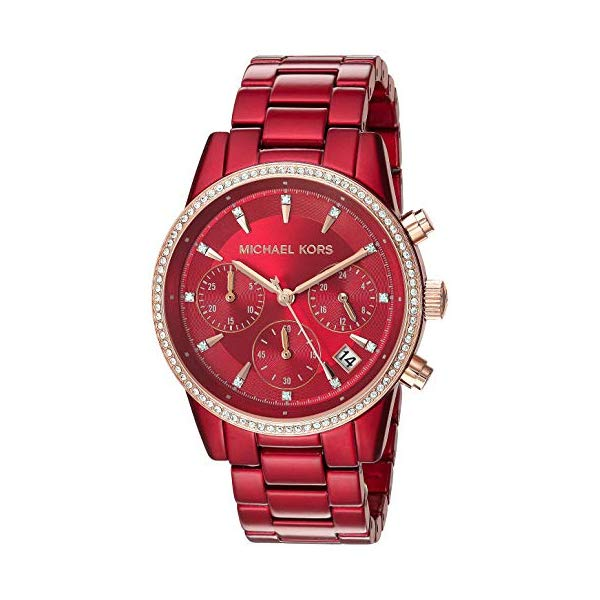 マイケルコース 時計 ウォッチ 腕時計 レディース 女性用 MK6665 Michael Kors Women's Ritz Quartz Watch with Stainless-Steel-Plated Strap, red, 18 (Model: MK6665)