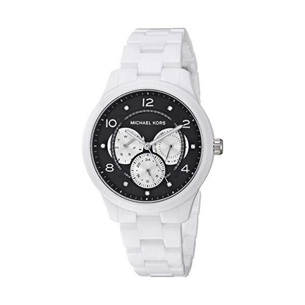 マイケルコース 時計 ウォッチ 腕時計 レディース 女性用 MK6630 Michael Kors Women's Runway Stainless Steel Quartz Watch with Ceramic Strap, White, 18 (Model: MK6630)