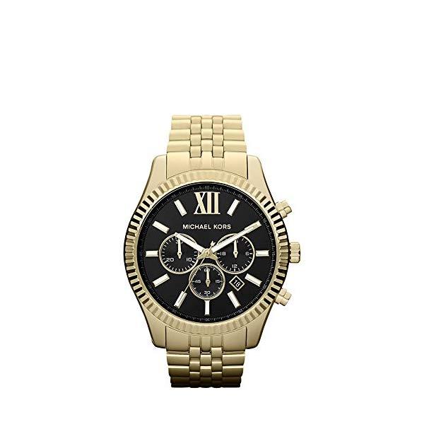 マイケルコース 時計 ウォッチ 腕時計 Michael Kors Goldtone Lexington Watch with Black Dial