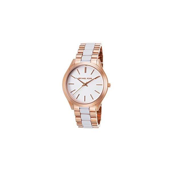 マイケルコース 時計 ウォッチ 腕時計 レディース 女性用 MK4311 Michael Kors Women's Slim Runway 42mm Two Tone Steel Bracelet & Case Quartz White Dial Analog Watch MK4311