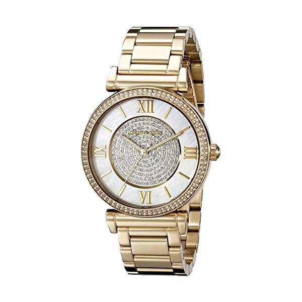 マイケルコース 時計 ウォッチ 腕時計 Michael Kors Goldtone CATLIN Watch with Mother-of-Pearl Dial & Pave Detail