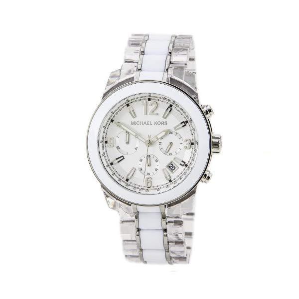 マイケルコース 時計 ウォッチ 腕時計 MK5766 Michael Kors Preston Chronograph White and Clear Acetate Ladies Watch MK5766