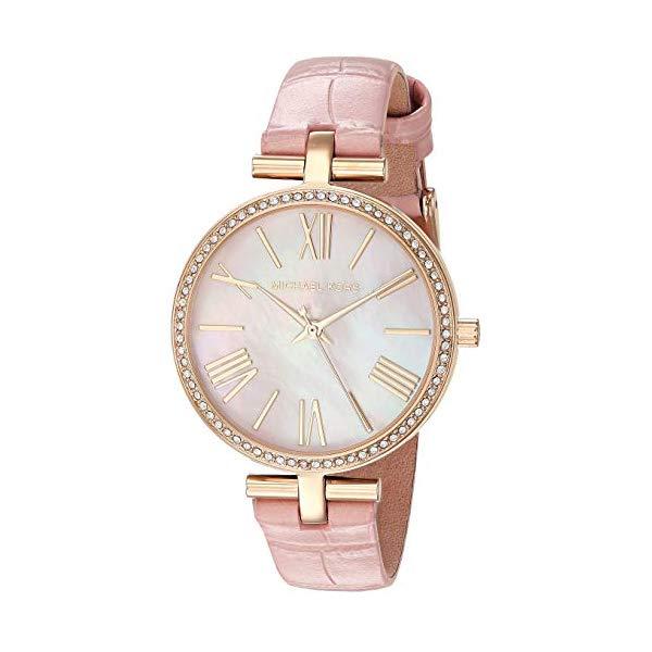 マイケルコース 時計 ウォッチ 腕時計 レディース 女性用 Michael Kors Women's Maci Stainless Steel Quartz Watch with Leather Strap, Gold/Pink, 14