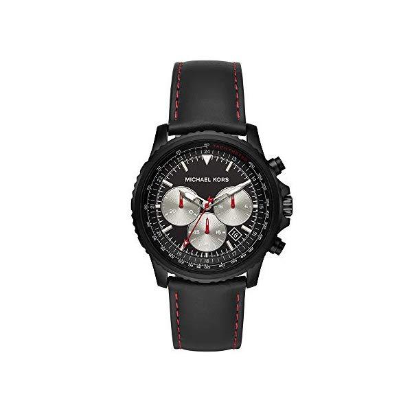 マイケルコース 腕時計 Michael Kors MK8647 ウォッチ メンズ 男性用 Michael Kors Men's Theroux Stainless Steel Analog-Quartz Watch with Leather Strap, Black, 22 (Model: MK8647)