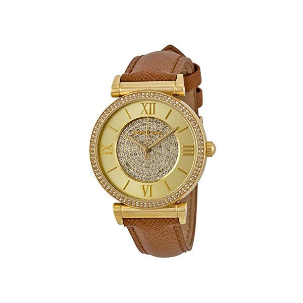 マイケルコース 腕時計 Michael Kors MK2375 ウォッチ レディース 女性用 Micahel Kors MK2375 Women's Catlin Gold Tone Crystal Pave Leather Band Watch