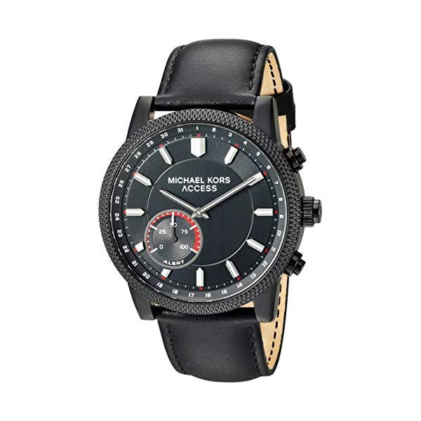 マイケルコース 腕時計 Michael Kors MKT4025 スマートウォッチ メンズ 男性用 Michael Kors Access Men's 'Hutton Hybrid Smartwatch' Quartz Stainless Steel and Leather Casual Watch, Color Black (Model: MKT4025)