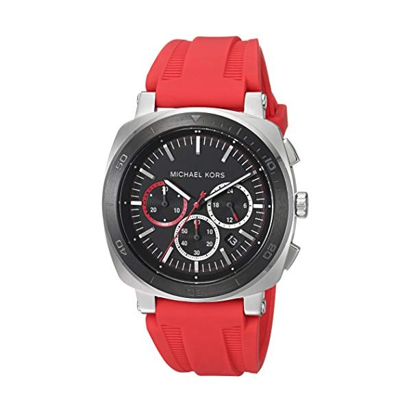 マイケルコース 腕時計 Michael Kors MK8552 ウォッチ メンズ 男性用 Michael Kors Men's 43mm BAX Stainless Steel Chronograph Watch with Red Silicone Strap