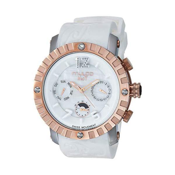 マルコ 腕時計 MULCO MW5-1876-013 レディース 女性用 ウォッチ Mulco Ladies Nuit Lace XL Swiss Quartz Multifunctional Movement Women's Watch, 42mm Case with Mother of Pearl and Rose Gold Accents, Silicone Band