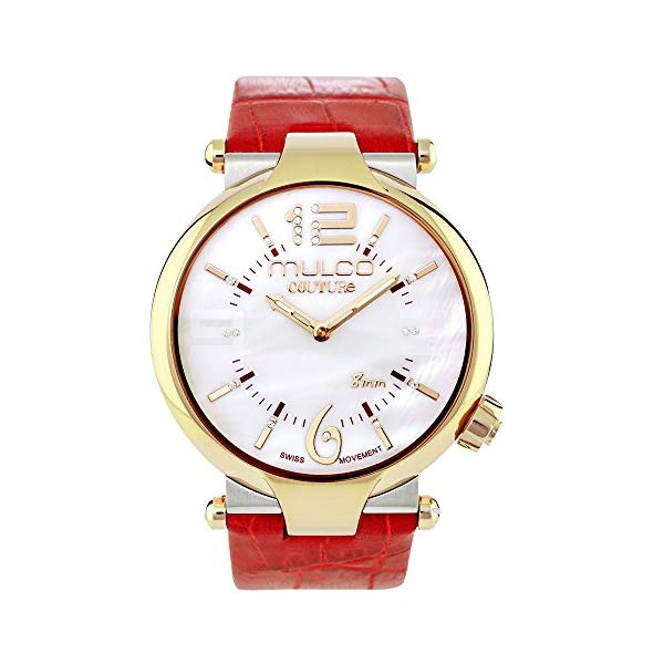 マルコ 腕時計 MULCO MW5-4234-062 レディース 女性用 ウォッチ Mulco Couture Ladies Slim Quartz Slim Analog Swiss Movement Women's Watch | Special Texture Design Sundial Display with Gold Accents | Genuine Italian Leather Band | Water Resistant (Red)