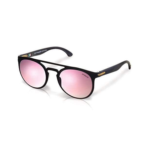 マルコ サングラス MULCO Flow RD C1 Mulco Flow RD C1 Black Frame / Pink Lens 48 mm Round Sunglasses