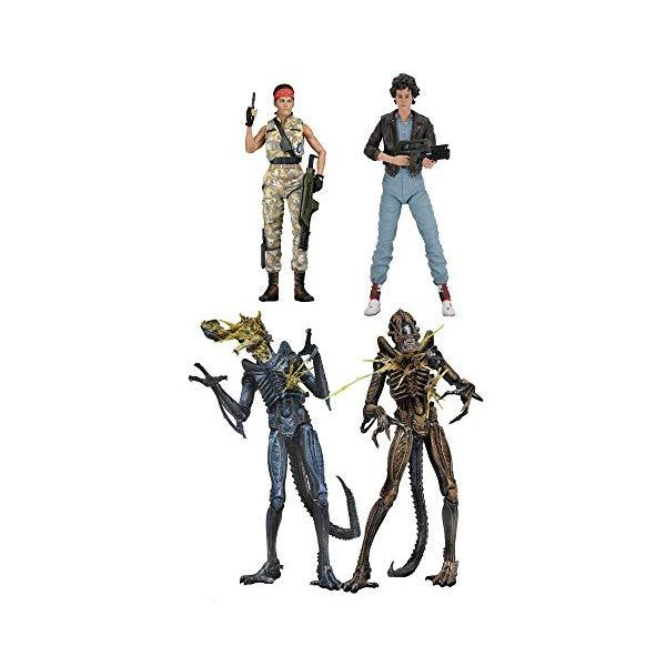 エイリアン アクション フィギュア 人形 ネカ NECA Aliens Series 12: Ripley, Vasquez, Battle-Damaged Aliens Assortment Set of 4