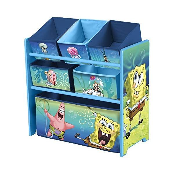 スポンジボブ おもちゃ 収納 おもちゃ箱 お片付け トイハウスラック スリム ラック 棚 収納 キッズ ボックス 子供 部屋 おしゃれ 入学祝 入園祝 卒園祝 お誕生日 プレゼント Delta Children 6-Bin Toy Storage Organizer, Spongebob Squarepants