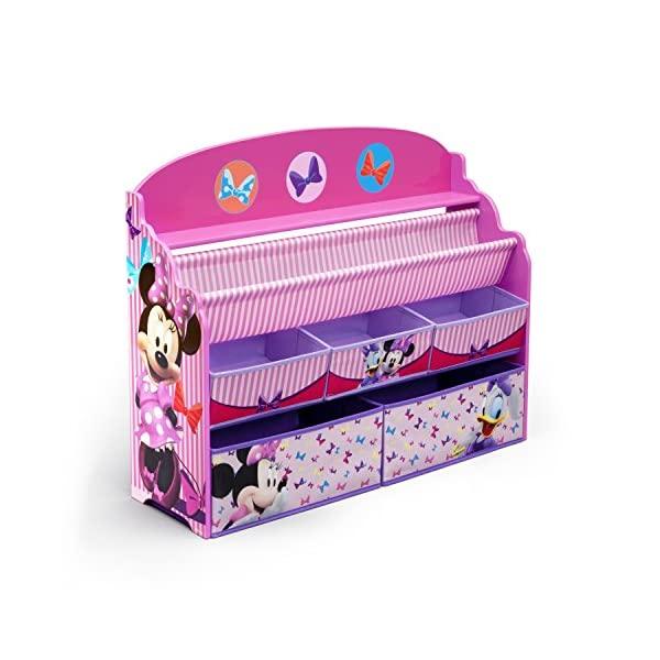 ミニーマウス ディズニー おもちゃ 収納 おもちゃ箱 お片付け 絵本棚 本棚 スリム ラック 棚 収納 キッズ ボックス 子供 部屋 おしゃれ 入学祝 入園祝 卒園祝 お誕生日 プレゼント Delta Children Deluxe Book & Toy Organizer, Disney Minnie Mouse