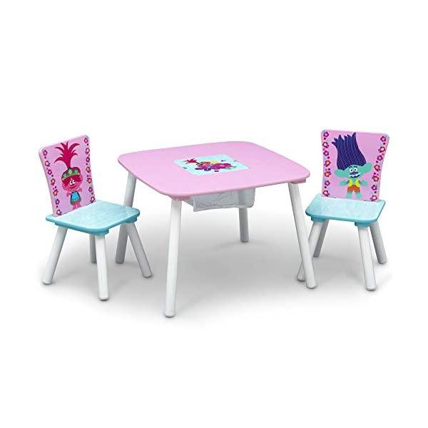 トロールズ ワールドツアー キッズデスク チャイルドデスク キッズチェア 子供椅子 デスクセット 子供用 勉強机 学習机 子供机 入学祝 入園祝 卒園祝 お誕生日 プレゼント 自宅学習 Delta Children Kids Table & Chair Set with Storage , Trolls World Tour