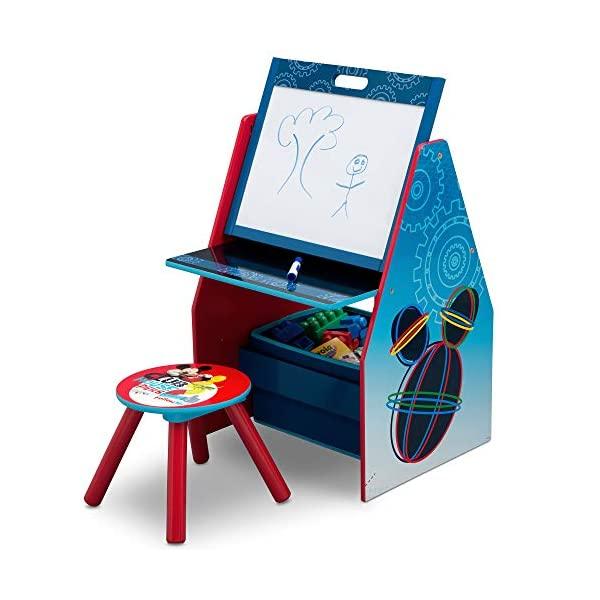 ミッキー ディズニー お絵かき ホワイトボード デッサン 収納 キッズ デスク 子供机 椅子 セット おもちゃ箱 お片付け ボックス 子供 部屋 入学祝 入園祝 卒園祝 お誕生日 プレゼント Delta Children Easel & Play Station, Disney Mickey Mouse