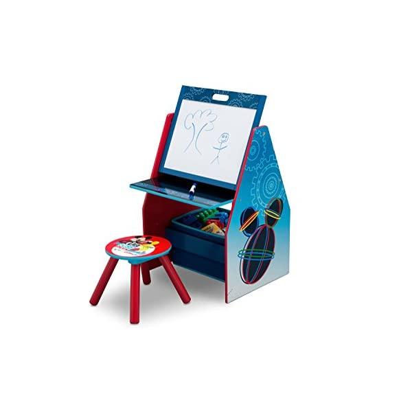 ミッキー ディズニー お絵かき ホワイトボード キッズ デスク 椅子 セット おもちゃ箱 お片付け 収納 キッズ ボックス 子供 部屋 入学祝 入園祝 卒園祝 お誕生日 プレゼント Delta Children Activity Center with Easel Desk, Stool, Toy Organizer, Disney Mickey Mouse