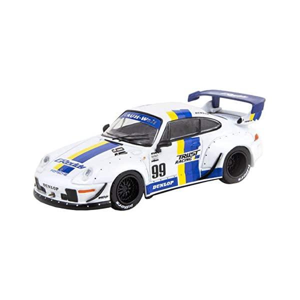ポルシェ 911 993 モデルカー 100%品質保証! 海外 ダイキャスト 模型 ミニカー グッズ 納車祝い プレゼント インテリア スーパーカー Porsche RWB 993#99 by Model Works with White Tarmac T64-017-GDY BEGRIFF Stripes 1 Car Diecast RAUH-Welt 64