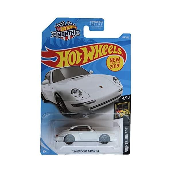 ポルシェ カレラ お得なキャンペーンを実施中 ホットウィール モデルカー ダイキャスト 模型 ミニカー グッズ 納車祝い プレゼント インテリア スーパーカー Hot 155 2019 Carrera Month 10 Porsche Nightburnerz '96 250 White Wheels Card 4 公式