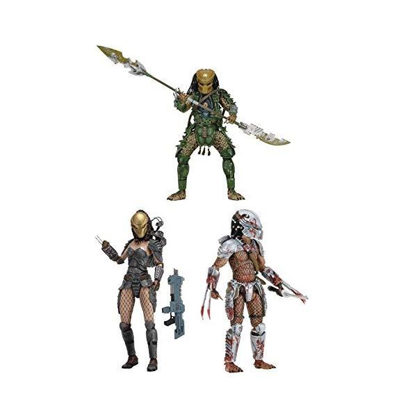 プレデター アクション フィギュア 人形 ネカ NECA Predator Series 18: Hornhead, Broken Tusk and Machiko Predator Action Figure Set of 3
