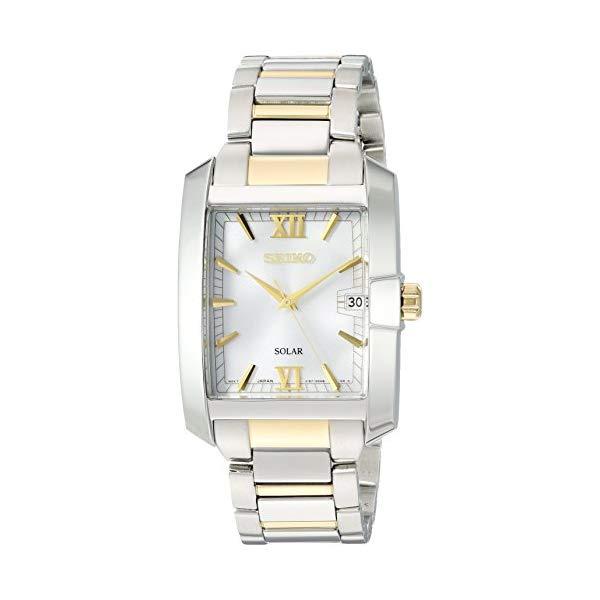セイコー SEIKO 腕時計 ウォッチ メンズ 男性用 Seiko Men's Solar Rectangular Two Tone Watch