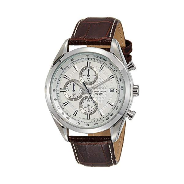 セイコー SEIKO 腕時計 ウォッチ メンズ 男性用 SSB181 Seiko Chronograph SSB181 Silver Tone Dial Brown Leather Band Men's Watch