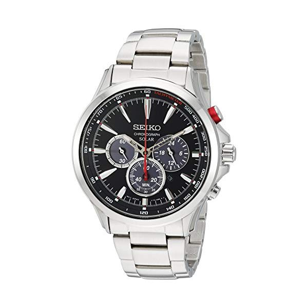 "セイコー SEIKO 腕時計 ウォッチ メンズ 男性用 SSC493 Seiko Men""s Solar Chronograph Japanese-Quartz Watch with Stainless-Steel Strap, Silver, 21 (Model: SSC493)"
