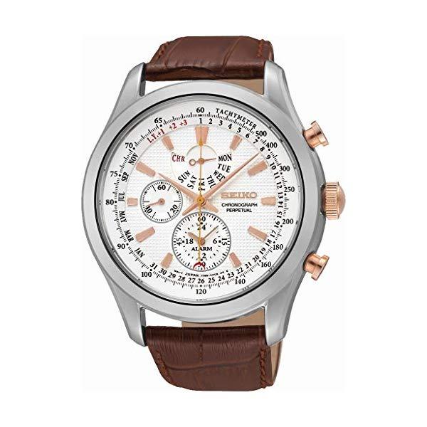 セイコー SEIKO 腕時計 ウォッチ メンズ 男性用 SPC129P1 Seiko Men's SPC129P1 Neo Classic Alarm Perpetual Chronograph White Dial Brown Leather Watch