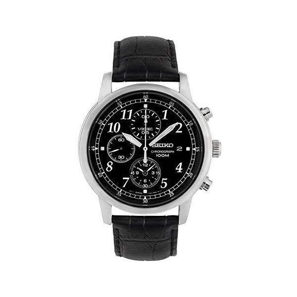 セイコー SEIKO 腕時計 ウォッチ メンズ 男性用 SNDC33 Seiko Men's SNDC33 Classic Black Leather Black Chronograph Dial Watch