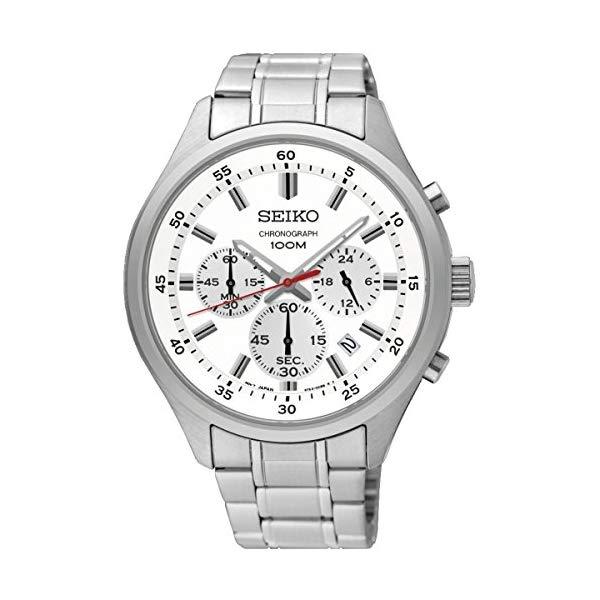 セイコー 腕時計 SEIKO SKS583P1 メンズ ウォッチ 男性用 SEIKO Men's 43mm Steel Bracelet & Case Hardlex Crystal Quartz White Dial Analog Watch SKS583P1