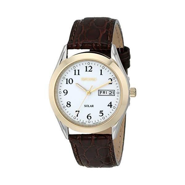 """セイコー 腕時計 SEIKO SNE056 メンズ ウォッチ 男性用 SEIKO Men""""s SNE056 Stainless Steel Solar Watch with Leather Band"""