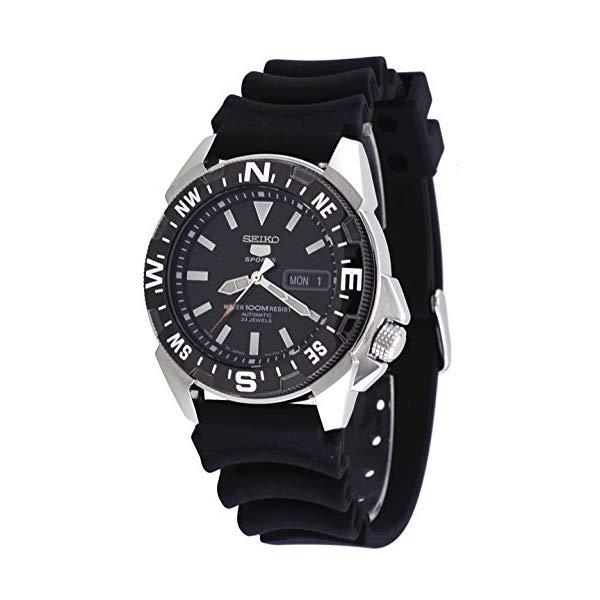 """セイコー 腕時計 SEIKO SNZE81J2 ウォッチ メンズ 男性用 SEIKO Men""""s 5 Automatic SNZE81K2 Black Rubber Quartz Watch"""