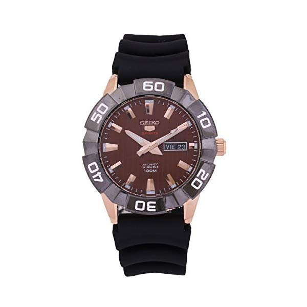 """セイコー 腕時計 SEIKO SRPA58K1 ウォッチ メンズ 男性用 SEIKO 5 Sports SRPA58 Men""""s Rose Gold Tone Brown Dial Resin Band Automatic Watch"""