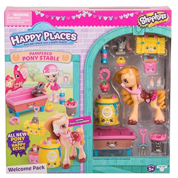 ショップキンズ おもちゃ 人形 ドール フィギュア Happy Places Shopkins Pampered Pony Welcome Pack