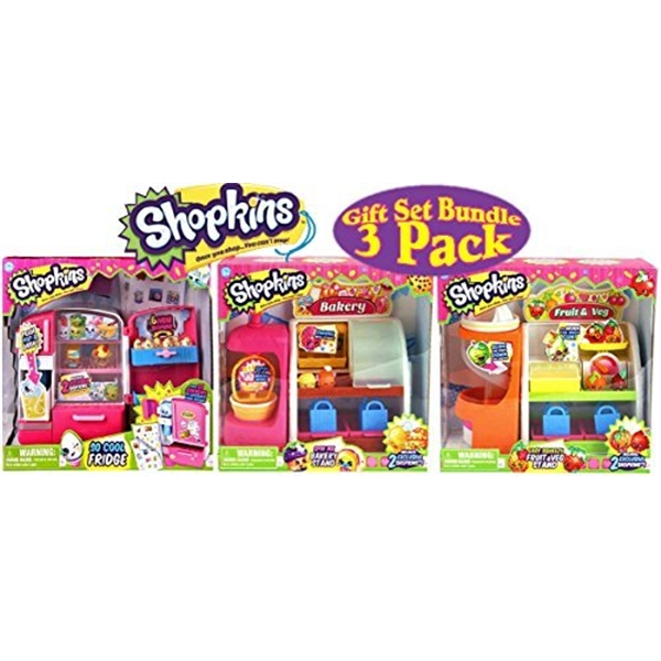 ショップキンズ おもちゃ 人形 ドール フィギュア Shopkins So Cool Fridge, Spin Mix Bakery Stand and Easy Squeezy Fruit & Vegetable Stand Playsets Gift Set Bundle - 3 Pack