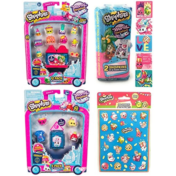 ショップキンズ おもちゃ 人形 ドール フィギュア Shopkins Season 8 USA Gift Bundle includes America World Vacation 12 Pack, 5 Pack, 2 Pack and (Bonus 100 Stickers and 5 Big Sparkly Stickers!)