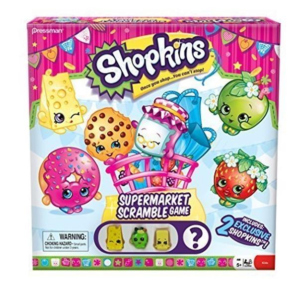 ショップキンズ おもちゃ 人形 ドール フィギュア Shopkins Supermarket Scramble Game with 4 Exclusive Collectible Shopkins Characters Found Only in Our Games
