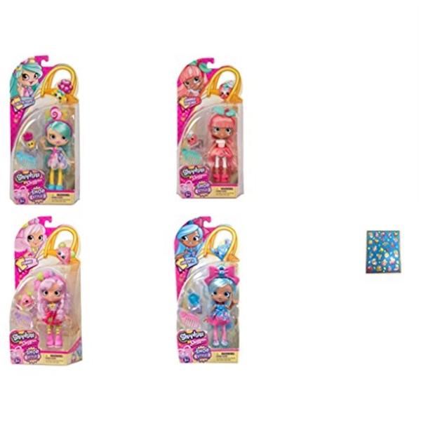 ショップキンズ おもちゃ 人形 ドール フィギュア Shopkins Season 10 Shoppies Dolls Jascenta, Pommie, Lolita Pops and Summer Peaches Bundle with Bonus Sticker Sheet